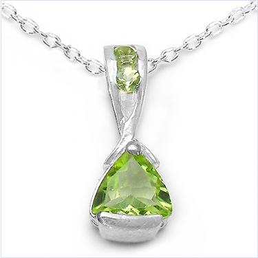 Peridot and sterling silver designer necklace